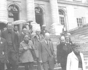Heribert Barrera, amb Xirinacs i Gertrudis Galí, durant la vista per l'extradició de Manuel Viusà a París el 1979