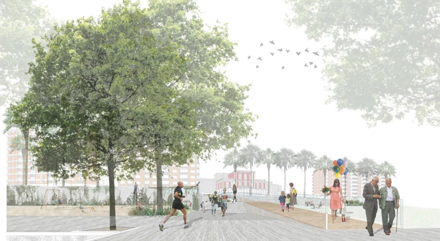Render nova plaça Trafalgar des de la carretera Antiga de València