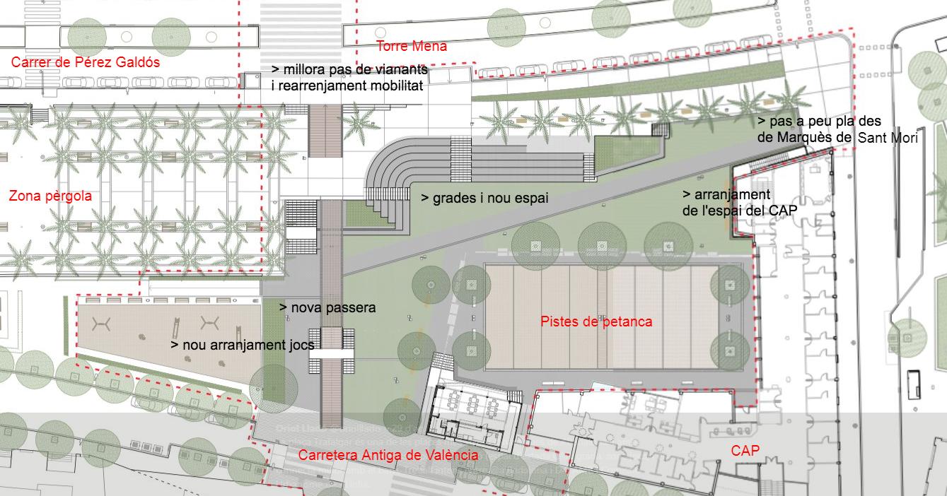 Plaça Trafalgar - primera fase (punts centrals del projecte)