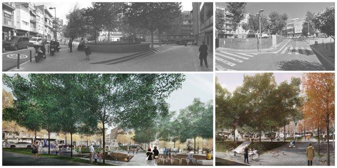 Abans i després, plaça i carrer Azorín.
