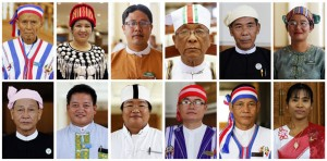 Members of Myanmar's parliament wear the traditional clothes of some of the country's ethnic groups as they pose for a picture during the opening of a joint parliament session in Naypyitaw