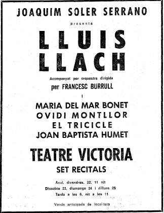 La nota del concert a La vanguardia Española d'aquella joiosa jornada