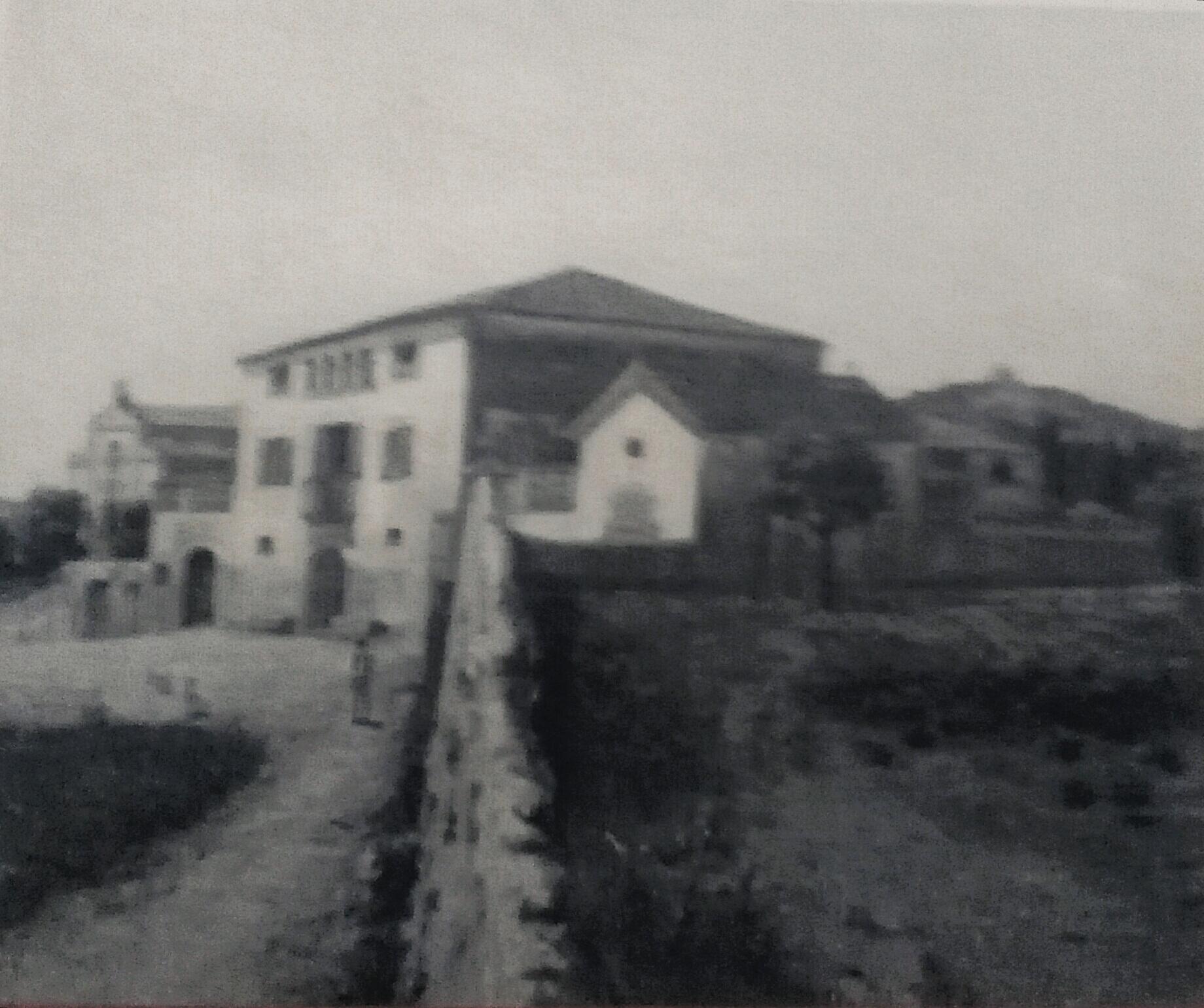 Masia de Ca l'Alegre l'any 1906, segons una pintura de Tusquellas.