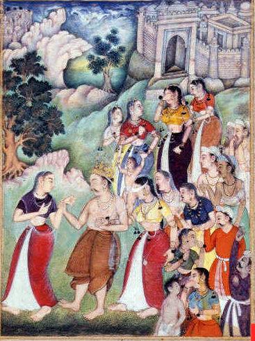 Kunti - com Draupadi - roman verge després de cada fecundació.