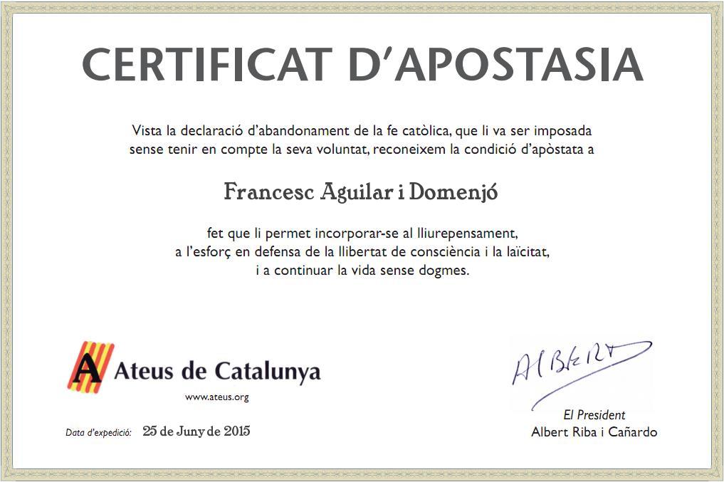 Certificat d'apostasia lliurat per Ateus de Catalunya.