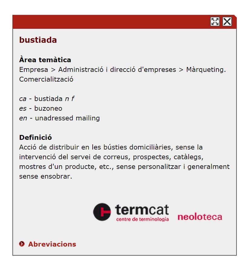 Definició de bustiada en el termcat.