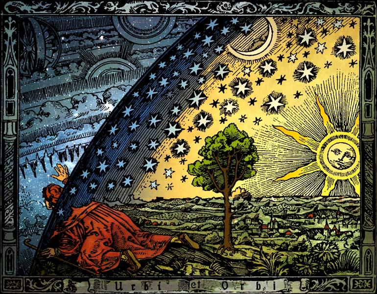 Universum, Flammarion, gravat, París (1888); versió acolorida d'Hugo Heikenwaelder, Viena (1998).