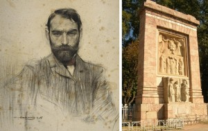 Retrat que li va fer  Ramon Cases. A la dreta,  monument de l'escultor als morts de la Gran Guerra que hi ha a Perpinyà.
