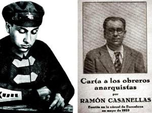 A l'esquerra, Casanelles amb l'uniforme de l'exèrcit rus. A la dreta, opuscle que publicà poc abans de morir