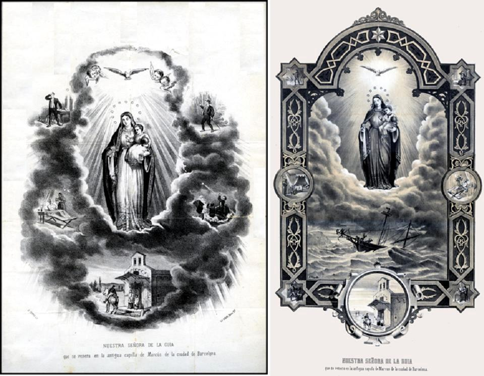 Dues estampes de la Mare de Déu de la Guia de la capella d'en Marcús