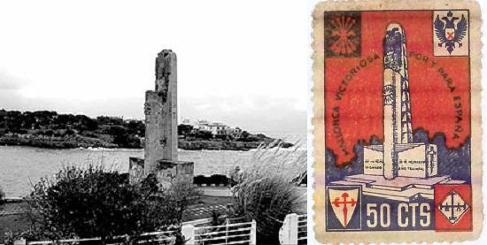 El monument del port de Manacor i el segell de Falange per recaptar fons
