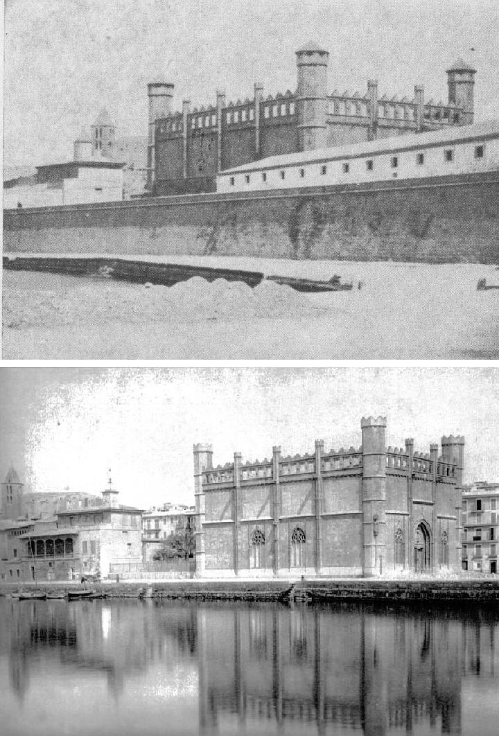 La Llotja abans i després de la retirada de la murada