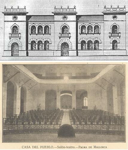 Exterior i sala d'actes de la Casa del Poble (de limprescindible pàgina Fideus de Pep Viclhez)