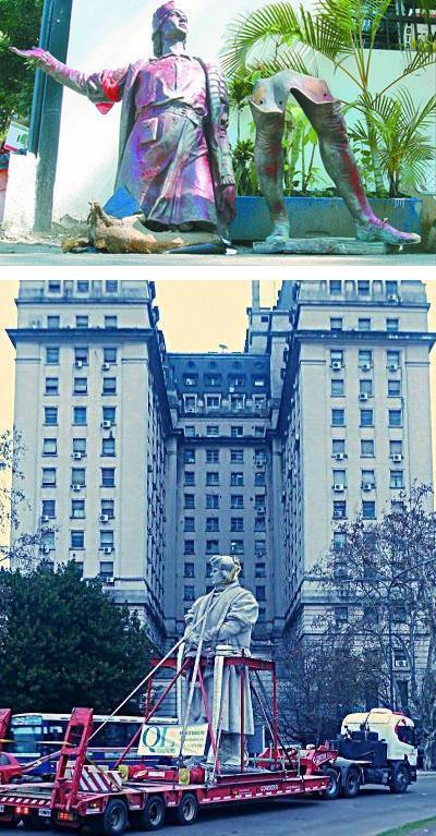 L'escultura del navegant desruïda a Caracas i retirada de Buenos Aires