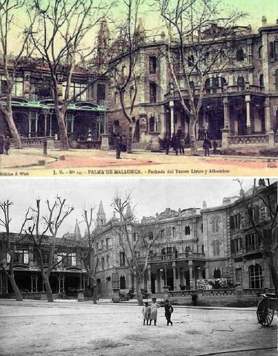 Postal i foto del Teatre Líric i l'Hotel Alambra