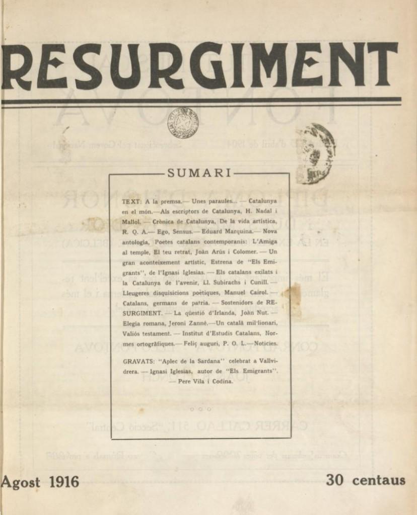 Caràtula del primer exemplar de Ressorgiment (abans de normalitzar el nom) l'agost de 1916