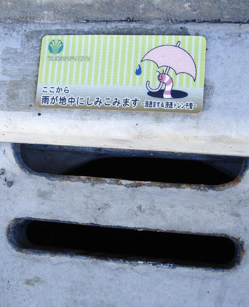 Un petit cartell al terra, a tocar d'un forat de claveguera. Indica que per aquí s'escola l'aigua de la pluja.
