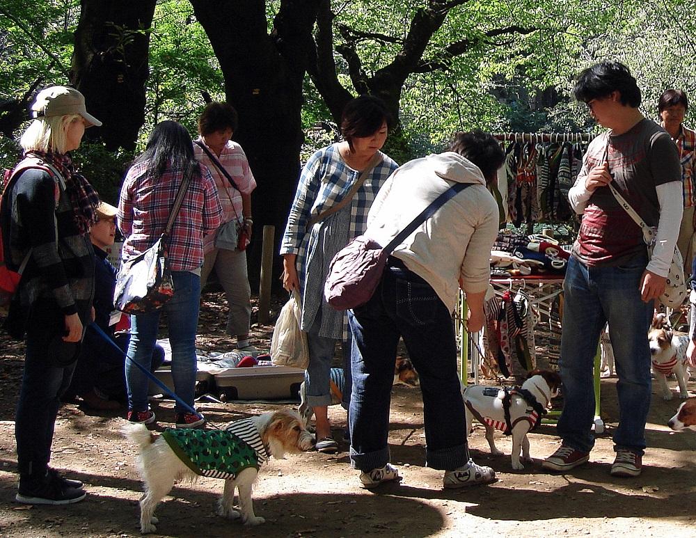 Parada de venda de roba per gossos, en un parc de Tòquio.