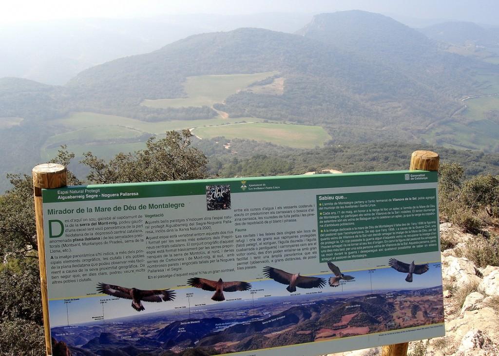 Rètol  al santuari de Montalegre
