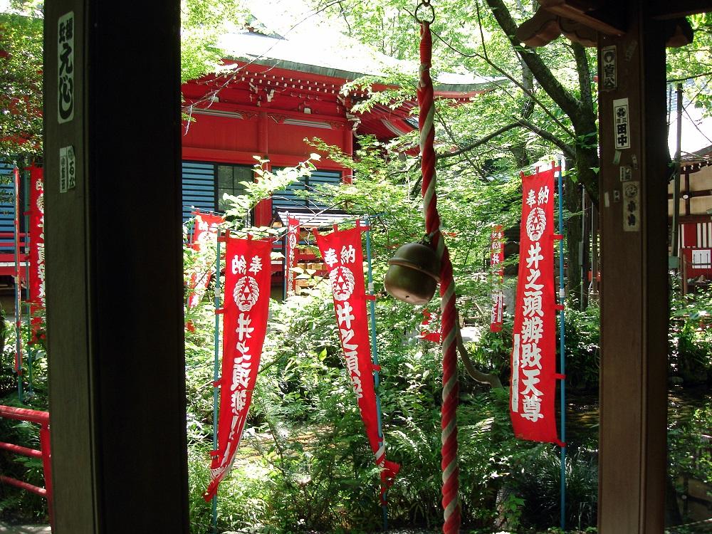 Detall d'un temple budista al mig del parc