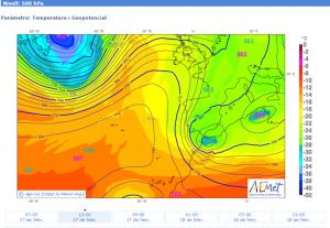 Mapa de temperatures en altura (a 500 hPa) prevista per al 17/02/2015, a les 13 h, on s'aprecia la formació d'una Baixa al Sud de la península Ibèrica, que, en acostar-se a nosaltres, va donar pluja feble (font: AEMET).