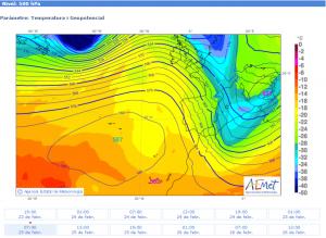 Mapa de temperatures en altura (500 hPa) previst per al 25/02/2015, a les 13 h, on s'aprecia la situació  que ens ha donat la mestralada de la darrera setmana del mes (font: AEMET).