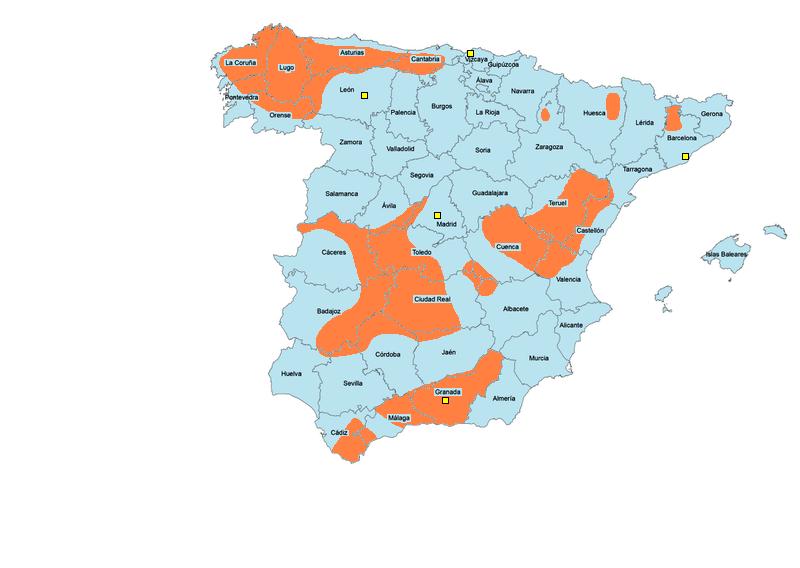 Àrees rurals (en taronja) i ciutats (en groc) on més van actuar els maquis. (Font: Viquipèdia.)