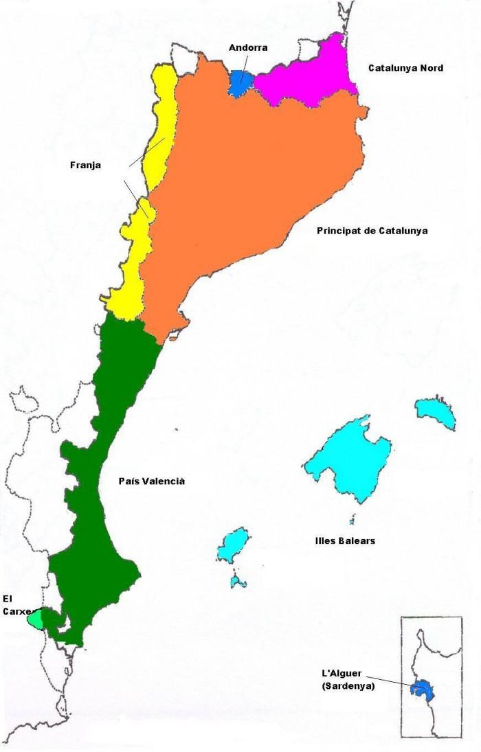 Territoris administratius que formen el Països Catalans