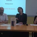 Marta Petreu, entre  Xavier Montoliu i Adina Mocanu a l'acte d'ahir al Centre Dona i Literatura de la Universitat de Barcelona. Foto extreta del seu twitter.
