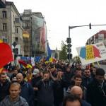 Un moment de la manifestació unionista a Bucarest aquest matí. Foto penjada al Facebook de Moise Guran i compartida pels organitzadors.