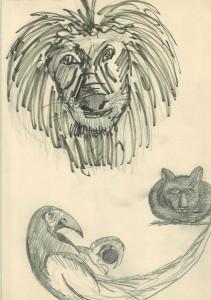 Apunt ràpid de lleó, papagai i mofeta