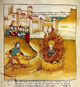 Jan Hus a la foguera, en la crònica de Spiezer (1485)