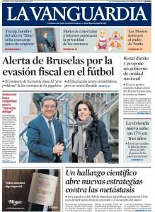 La Vanguardia, portada del 8 de desembre de 2016