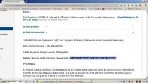 Aberracio Linguistica. Estatut Valencia 1982. Web Generalitat (18-12-2016)-01