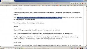 Aberracio Linguistica. Estatut Valencia 1982. Web Generalitat (18-12-2016)-06