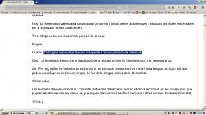 Aberracio Linguistica. Estatut Valencia 1982. Web Generalitat (18-12-2016)-07